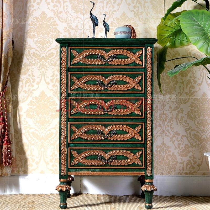 瑞诗欧美式家具手绘描金复古五斗柜储物柜置物柜边柜