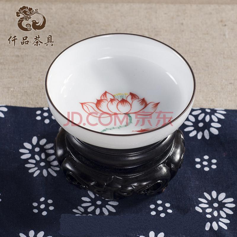 仟品景德镇创意手绘白瓷碗杯茶杯 金鱼