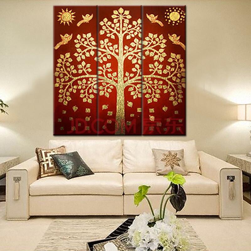 莫涵手绘油画装饰画泰式金箔画东南亚风格壁画《金色菩提树》 手绘