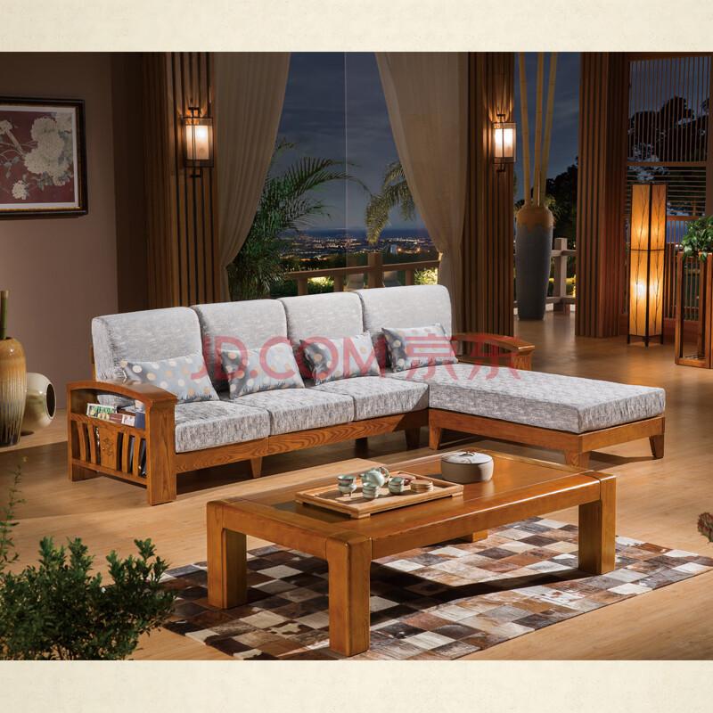 民思睿合家具现代新中式实木沙发套装组合 实木沙发贵妃客厅转角木架