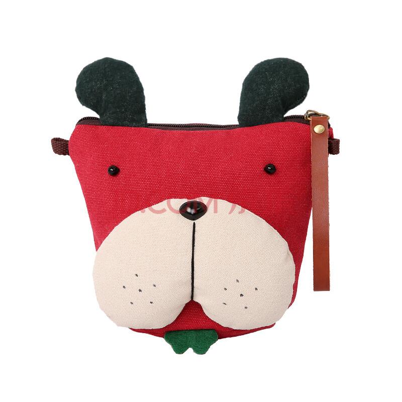 贝斯兔水桶包 三色补丁夏新款帆布迷你小包包可爱斜挎包女包 桔子狗