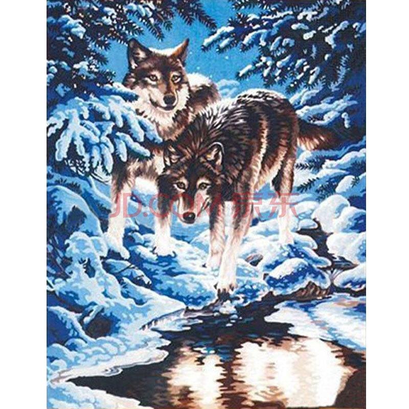 数字油画 简易手工自助手绘挂画 客厅玄关卧室动物装饰 月夜雪狼 50x6