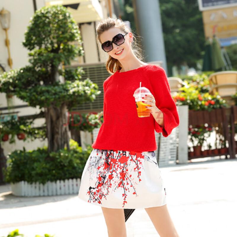 针织衫斗艳梅花短裙两件套装 红色 xl