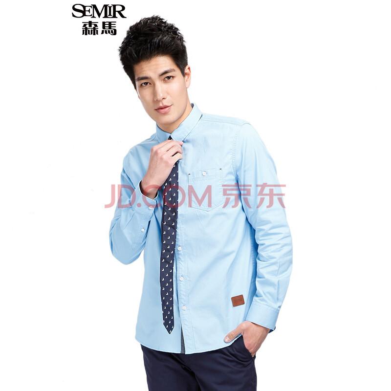 森马 新款男士长袖衬衫男装韩版休闲修身白衬衣潮流男图片