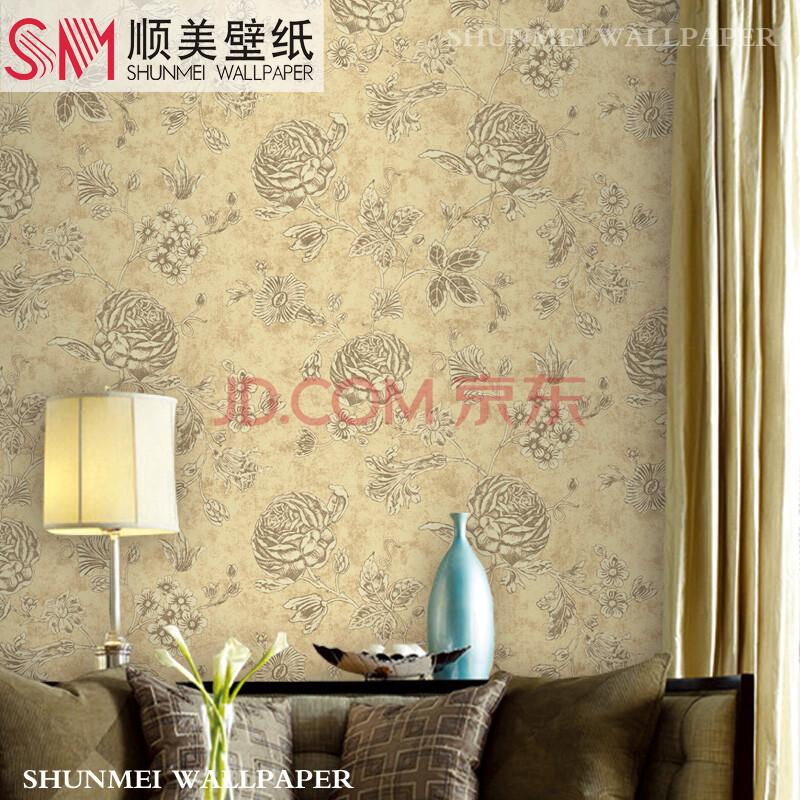 美式乡村复古大花墙纸 卧室客厅环保无纺布背景墙壁纸 hck-3105s复古
