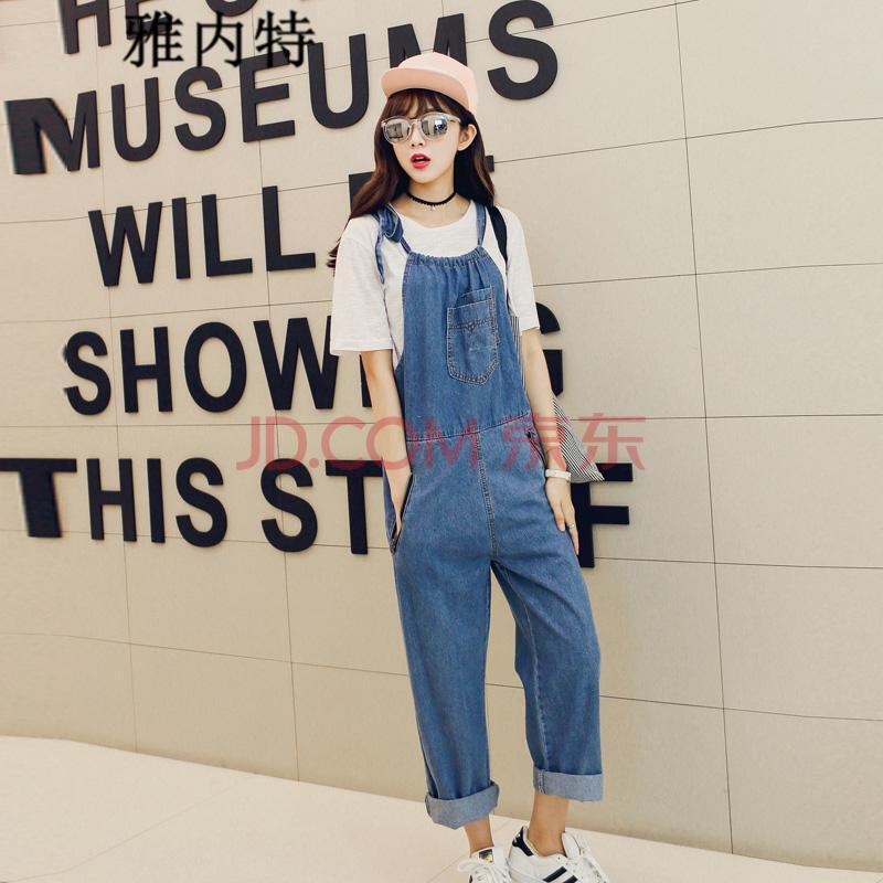 大码女装牛仔�z(�_雅内特2015新款韩版女装宽松大码牛仔背带裤女d0360#1007 蓝色 均码