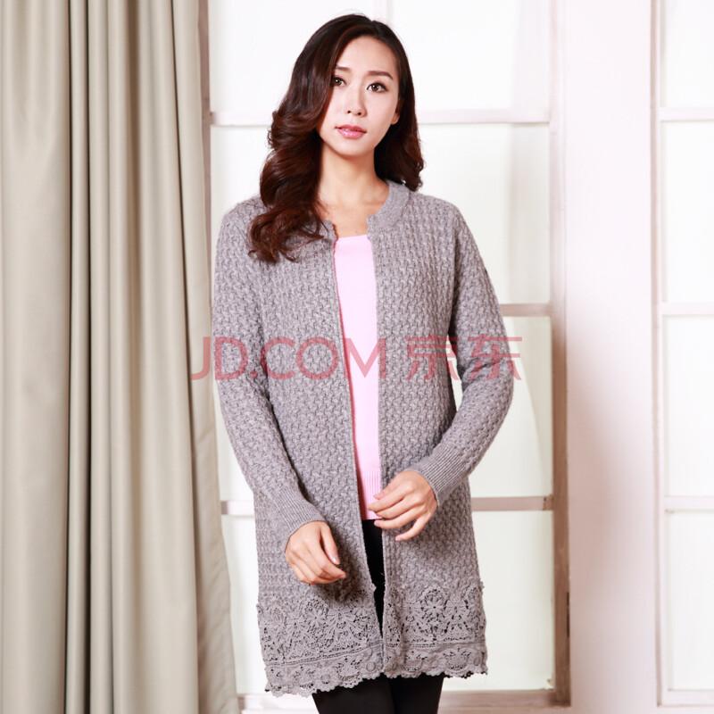妈妈装羊毛针织外套 春款开衫中长款毛衣 灰色 均码