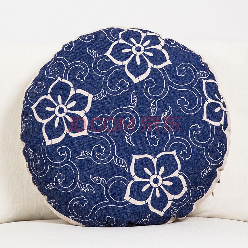 日式花纹圆枕折扇浮世绘富士山民族复古和棉麻沙发靠垫圆抱枕靠枕