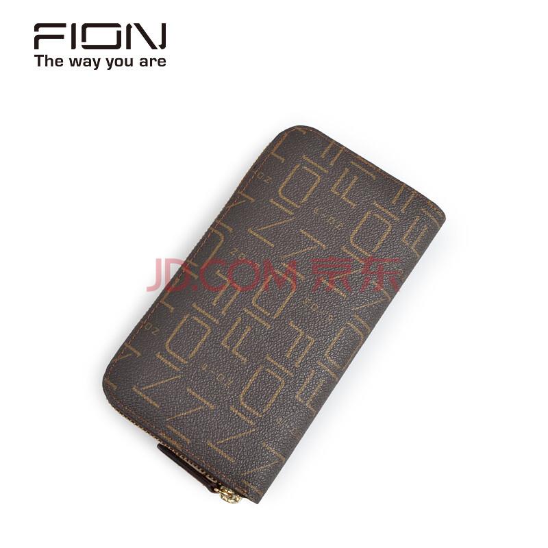 预售FION/菲安妮 印花长款女士钱包 女式拉链零钱夹 多卡位手包 啡色