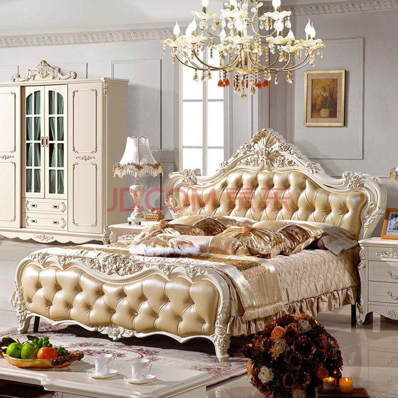 典逸 欧式床双人床实木床简欧床公主床皮床婚床豪华法式 家具木床 皮图片
