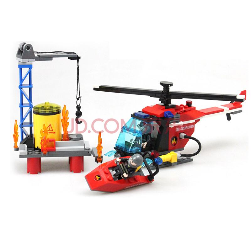 古迪拼插积木消防总局系列乐高式儿童diy组装车飞机