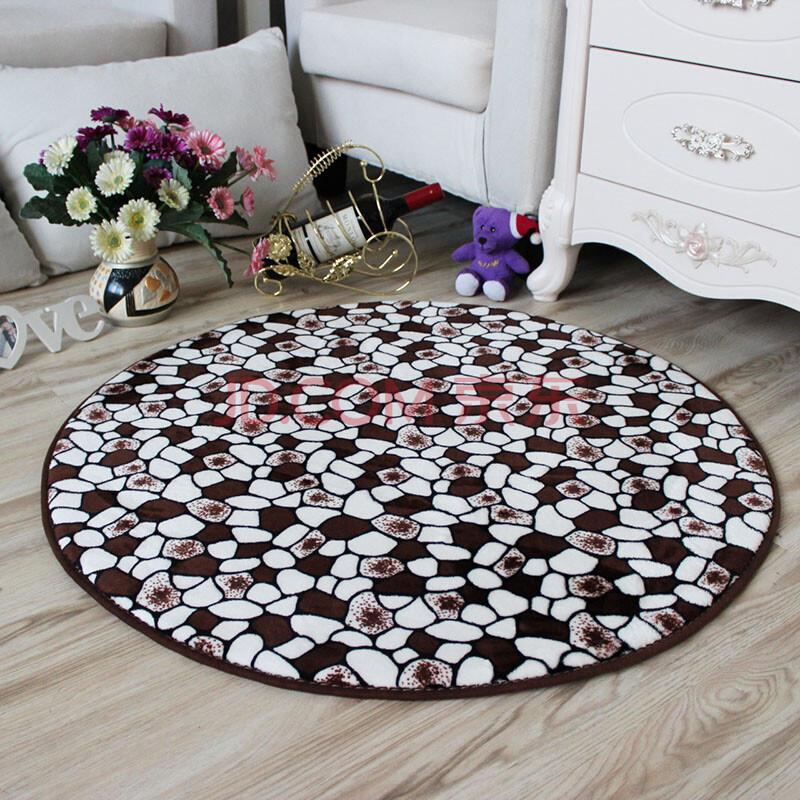 月之吻 珊瑚绒地毯 郑多燕瑜伽地垫 电脑椅圆形玄关卧室书房地毯 咖啡