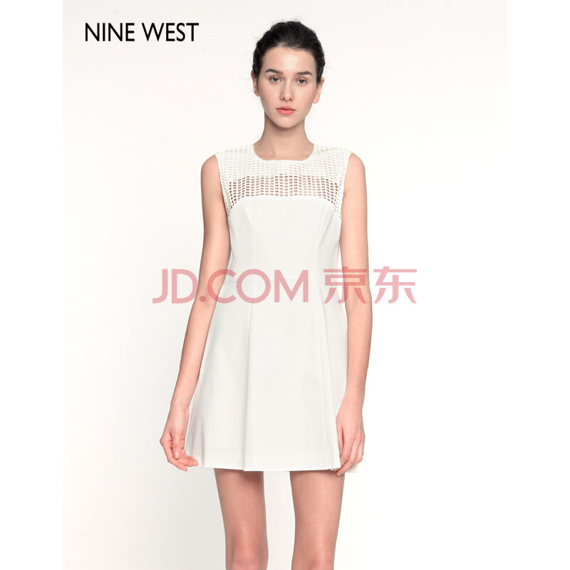 nine west 玖熙女装 时尚纯色无袖连衣裙305143b711 白色 10