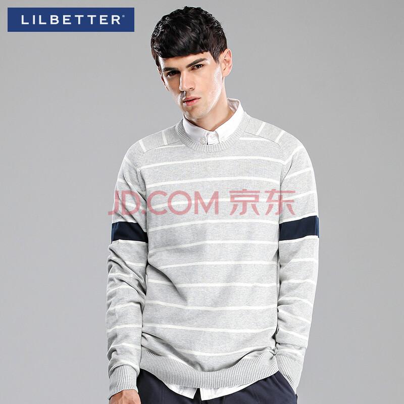 男�9il�l#�+_ilbetter毛衣 男 秋季新款修身条纹拼接针织衫潮流 男士外套 浅灰色 l