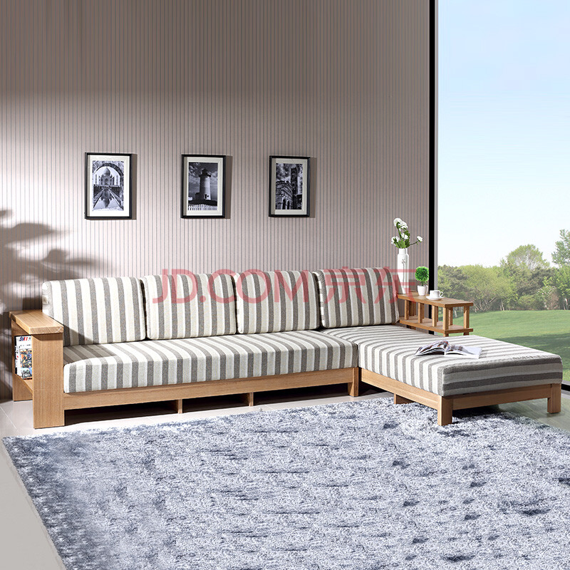 北欧篱笆实木转角沙发组合贵妃布艺简约现代小户型水曲柳沙发 原木色