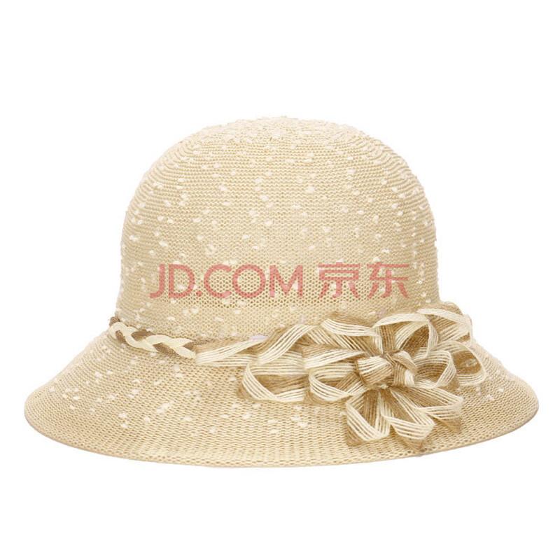 春夏季帽子镂空编织凉帽 女士麻绳盆帽圆顶礼帽 浅米色