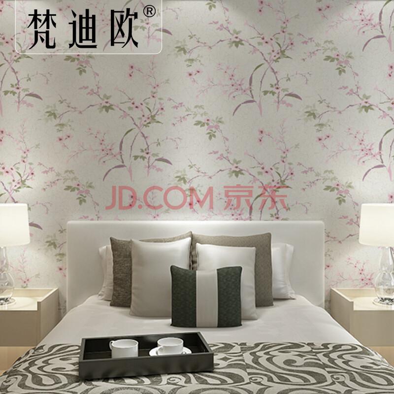 梵迪欧现代新中式墙纸 田园风格新古典桃花卧室客厅背景墙纯纸壁纸 35图片