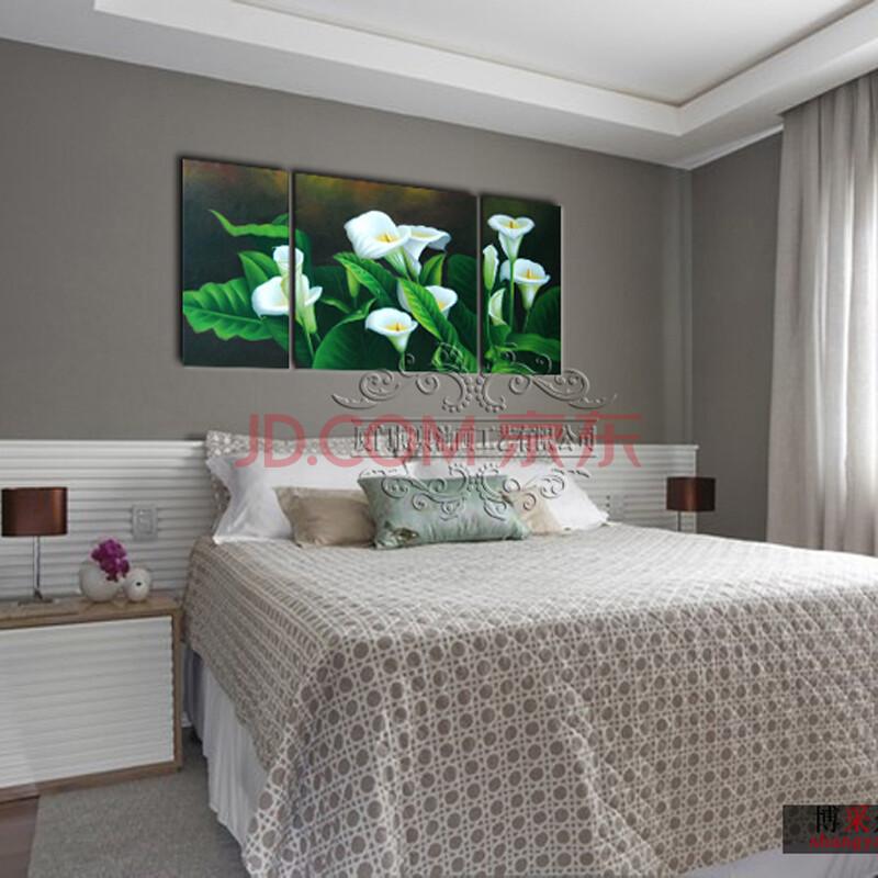 纯手绘油画客厅卧室装饰画无框画墙面壁画挂画墙画三联画绿意百合 50