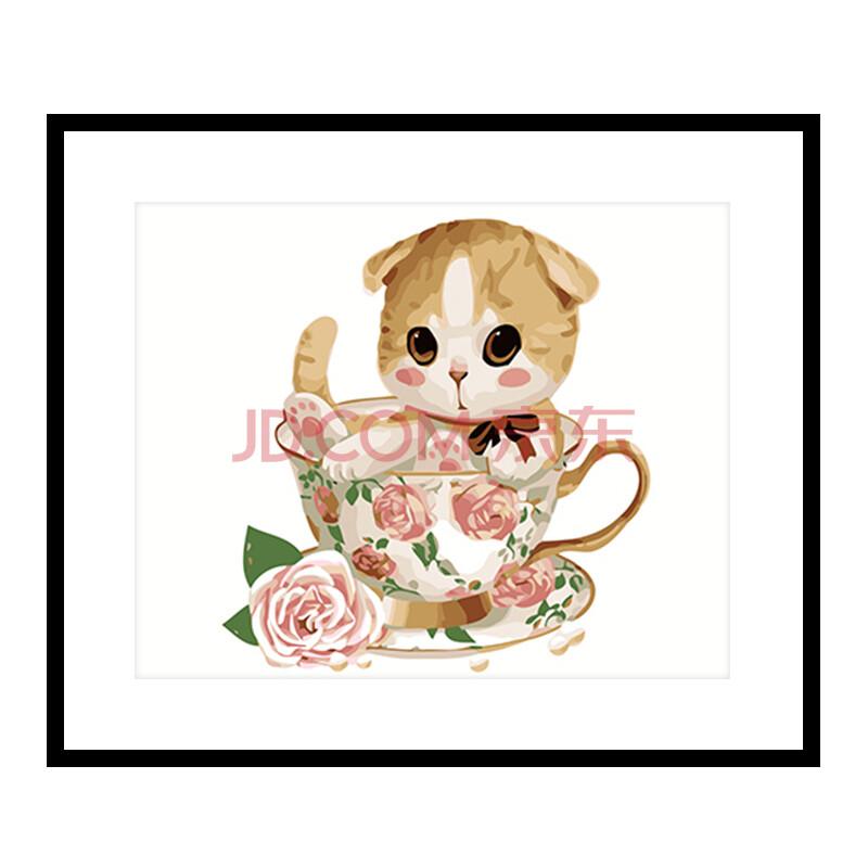 佳彩天颜 diy数字油画 卧室动漫卡通动物手绘装饰画茶杯猫 gx8397小黄