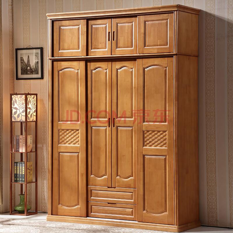 公熊家具 中式现代实木衣柜 橡木衣柜 四门推拉门衣柜