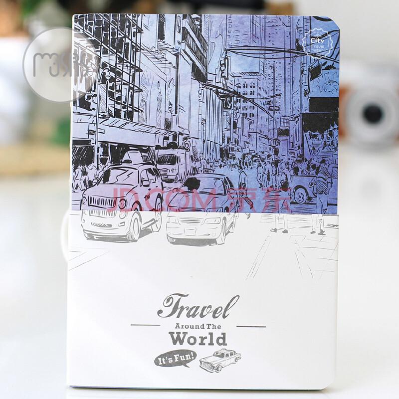 创意个性 复古手绘插画旅行笔记本 a5厚本子 空白纸本 速写本裸装本
