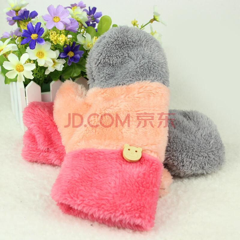 手套韩版女冬可爱加厚全指双层保暖包指绒质冬季女士手套彩虹 皮粉