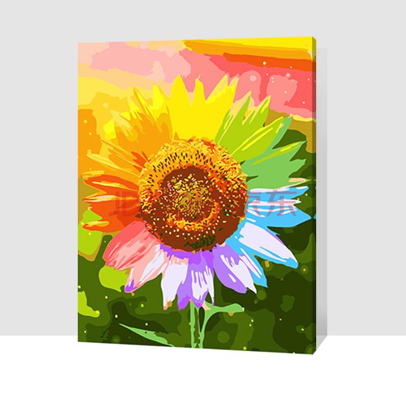 简单彩手绘向日葵