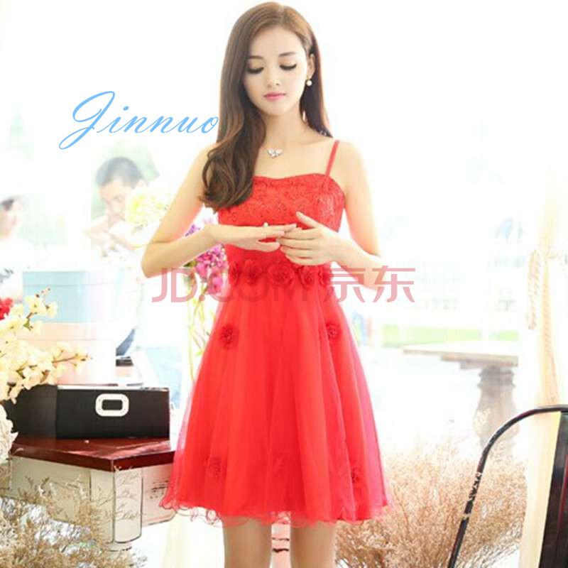 大红色连衣裙配小外套坎肩结婚礼服敬酒服 800