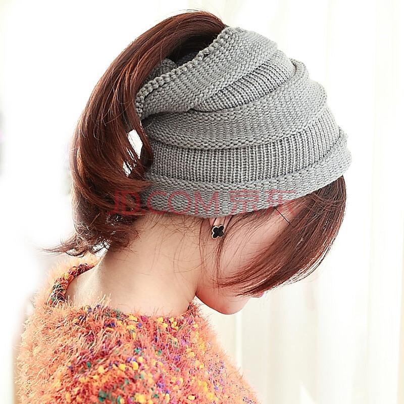 旺角16号女士秋冬保暖空顶毛线帽手工编织韩版帽子围脖两用款 灰色
