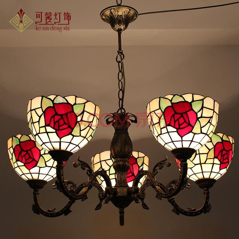 蒂凡尼灯饰灯具欧式田园红玫瑰客厅灯卧室