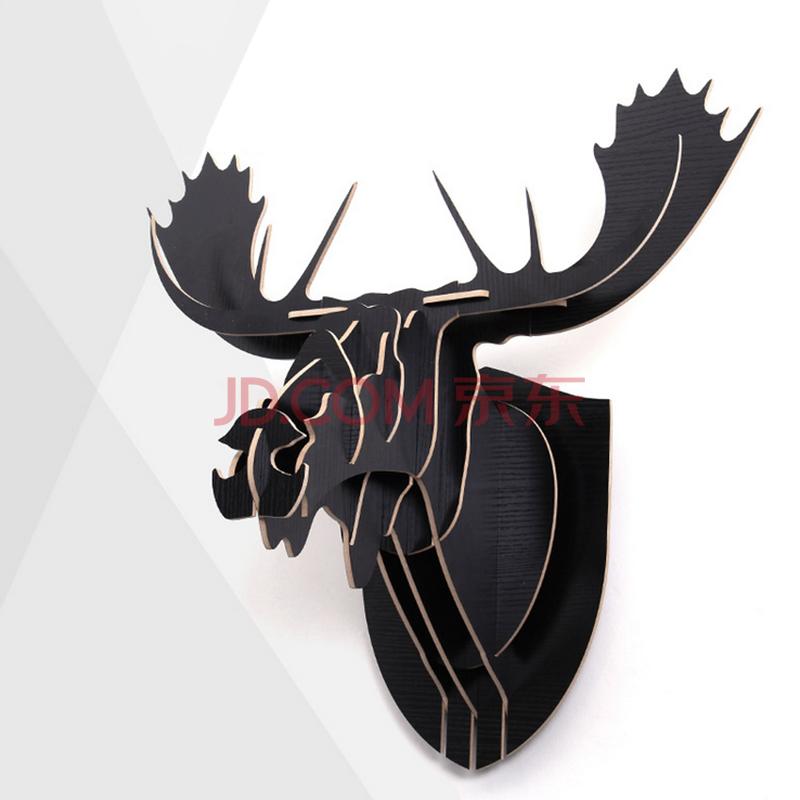 安泰北欧风格创意个性墙饰动物头像装饰品 驼鹿 黑胡桃