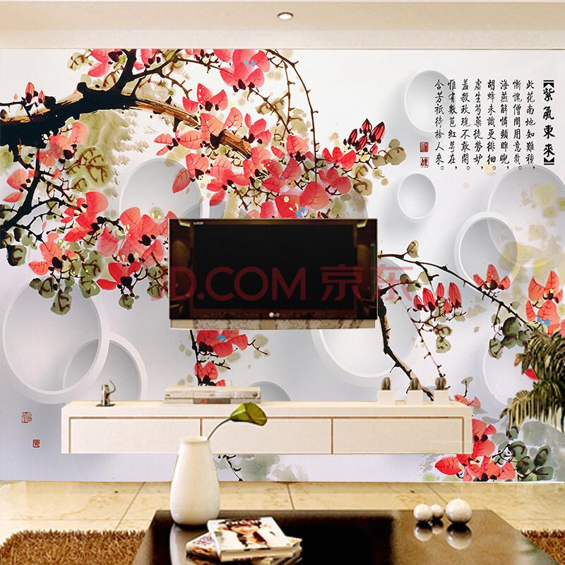 客厅电视背景墙壁纸中式卧室墙纸3d欧式壁画花鸟图片