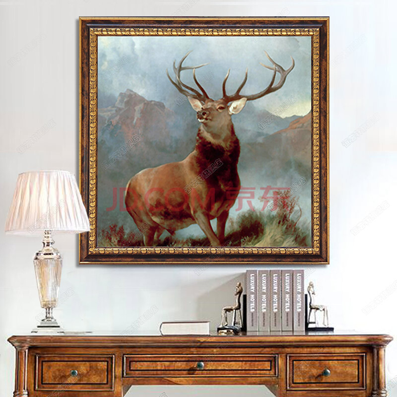 恒艺轩欧式油画手绘 客厅装饰画动物