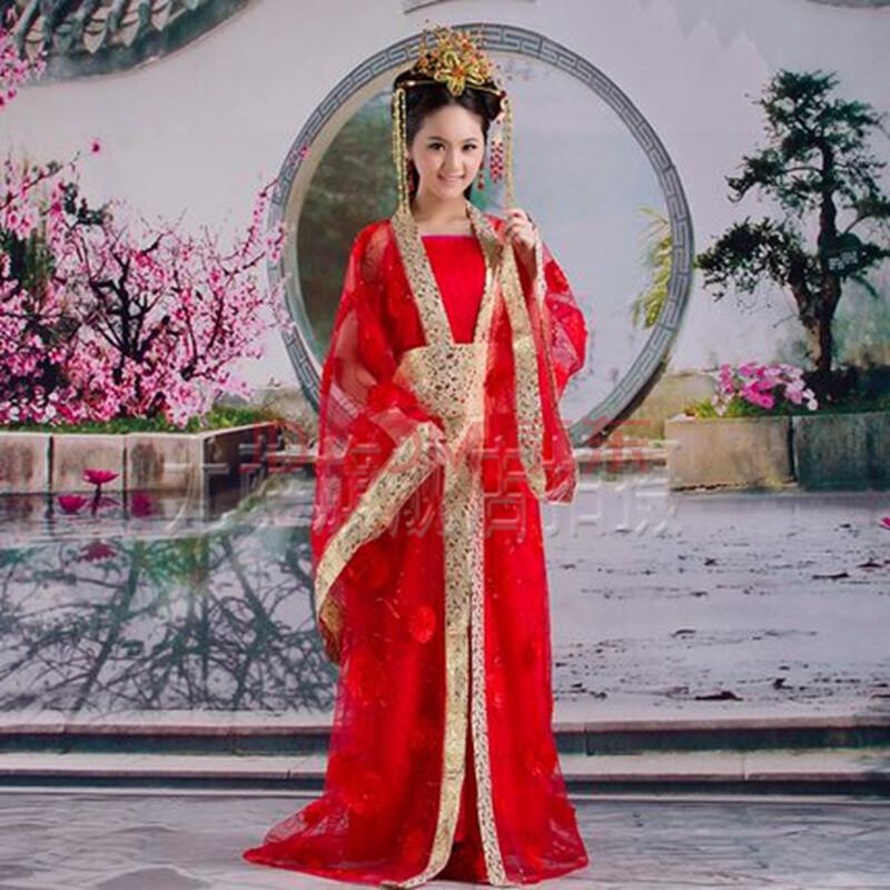 影视仙女喜服拖尾改良齐胸 古代服装 唐装汉服 新娘贵妃服装 红色图片