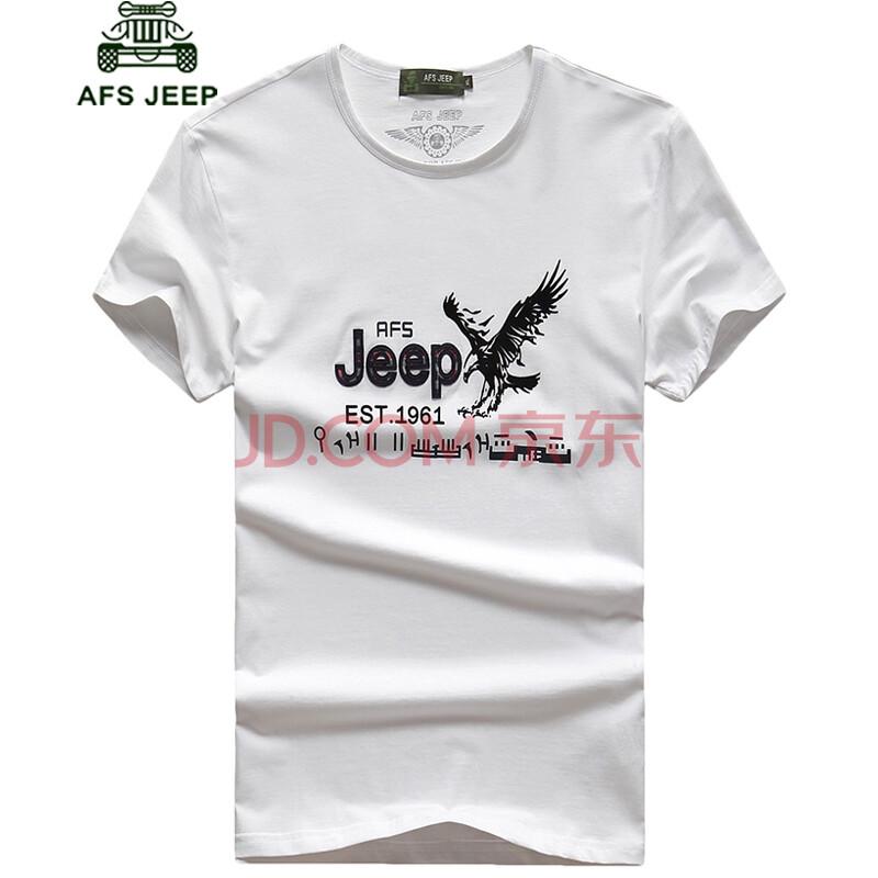 战地吉普afs jeep夏季短袖t恤男士logo印花老鹰棉圆领