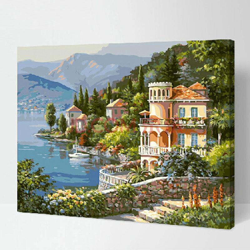 数字油画 简易手工自助手绘挂画 唯美风景系列 客厅卧室装饰 港湾小筑