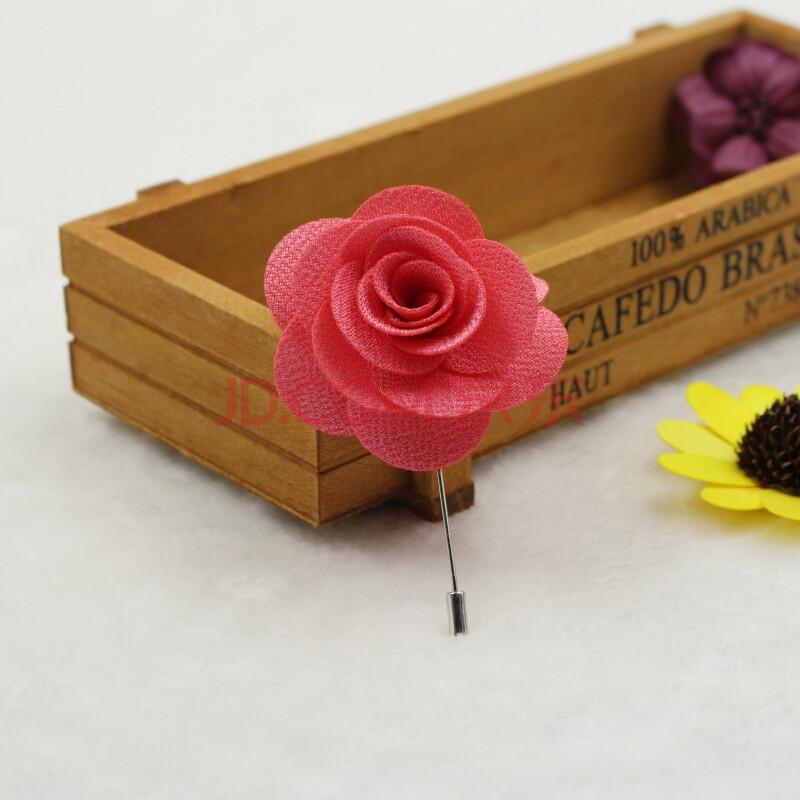 新潮纯手工制作布艺玫瑰花胸针胸花男士西装配件花朵花卉胸针 西瓜红