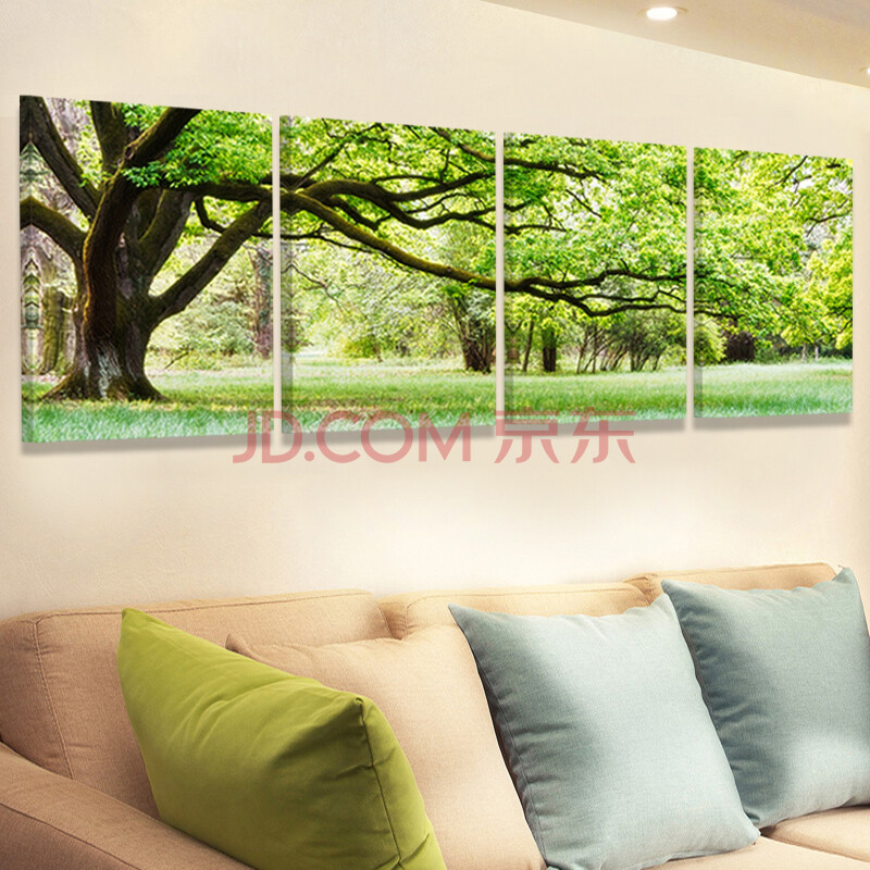 常青树客厅装饰画办公室风景绿树水晶无框画餐厅墙画冰晶壁画长青树挂
