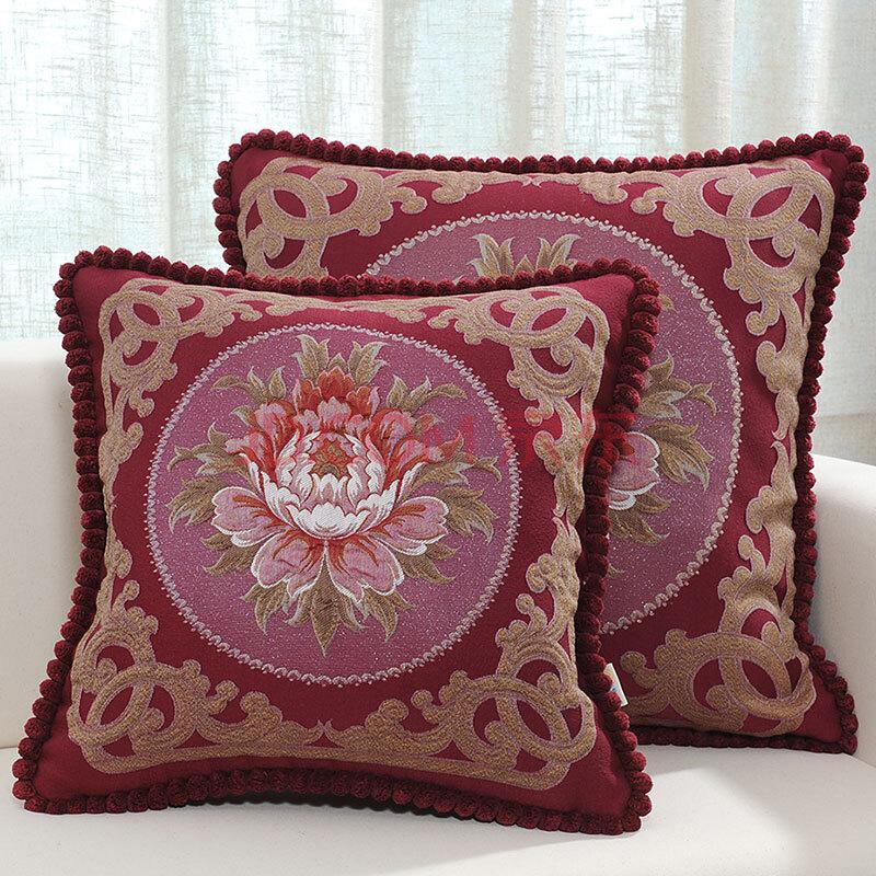 沙发抱枕欧式靠垫汽车靠背床头大靠枕含芯抱枕套 牡丹亭x东方红圆