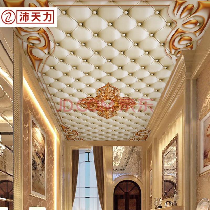 吊顶壁纸壁画 客厅卧室欧式天花板软包奢华图片