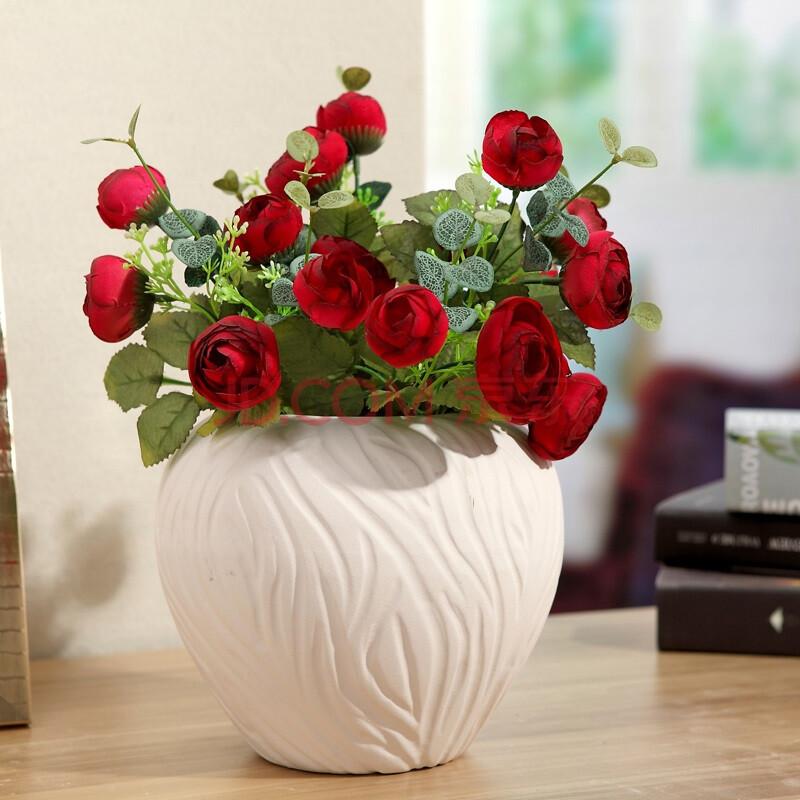 天喜瓷缘 简约创意白色陶瓷花瓶 酒店餐馆摆台餐桌摆件创意小花插家居图片