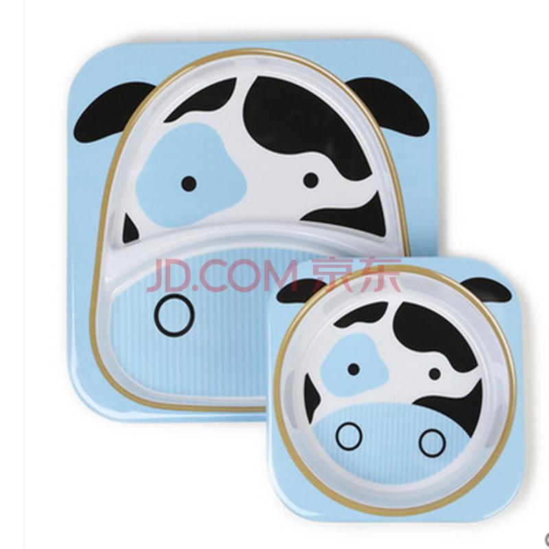 美国skip hop动物总动员儿童餐具幼儿餐碗 宝宝餐盘组合套装 奶牛