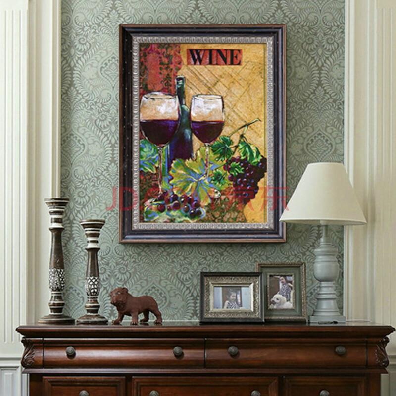凤之舞 手绘油画高档静物酒杯有框画美式古典餐厅装饰图片
