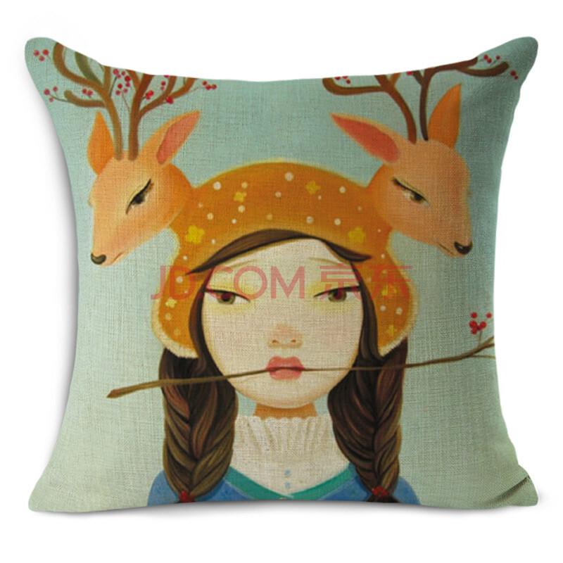 手绘小清新卡通女孩动物鹿棉麻抱枕靠垫套