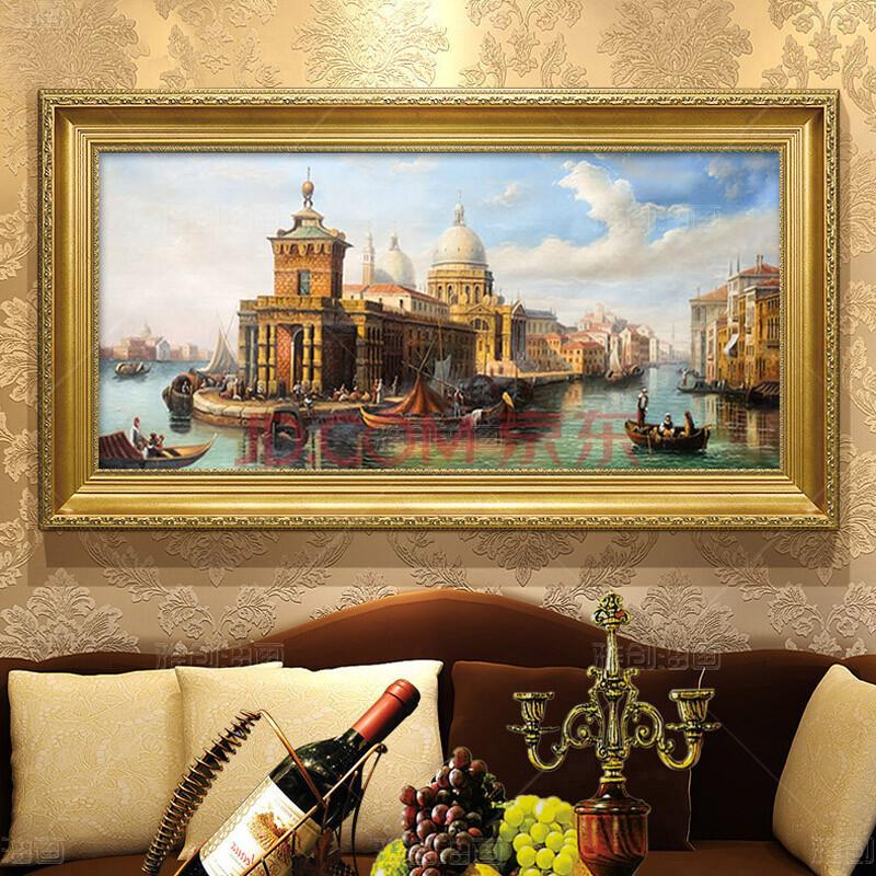 威尼斯风景油画高档古典城堡建筑景欧洲水乡简欧式装饰画 欧式经典金图片