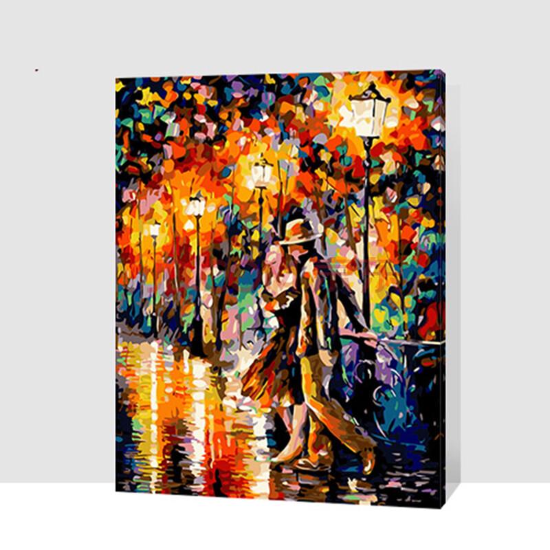 佳彩天颜 diy数字油画 大幅客厅卧室丙烯画 手绘人物装饰画 热恋情侣