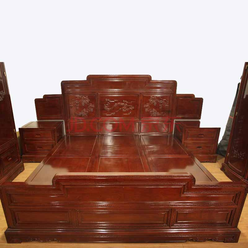 8米红木床实木双人大床带床头柜红檀