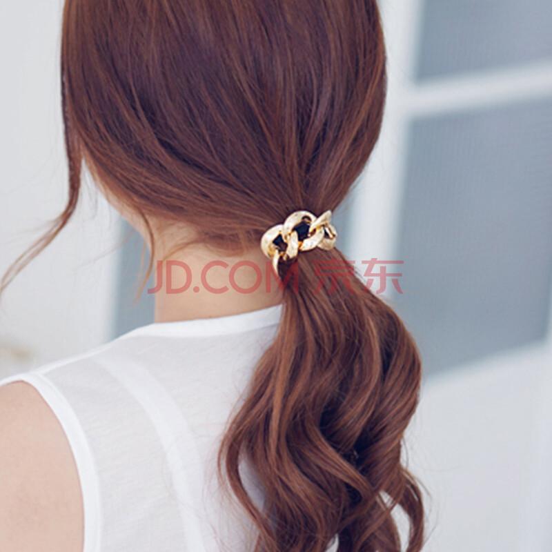 韩版饰品金属质感链条扎头发橡皮筋百搭复古朋克女发绳头绳发饰品