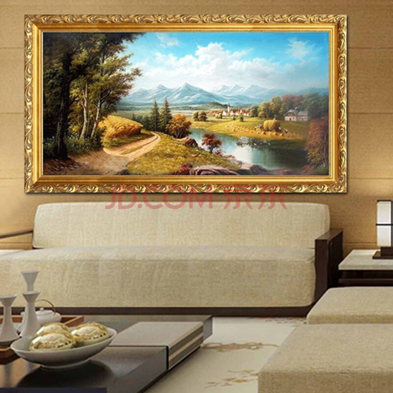 莫涵 欧式山水风景手绘油画高档客厅装饰画沙发背景墙壁画 如图手绘包