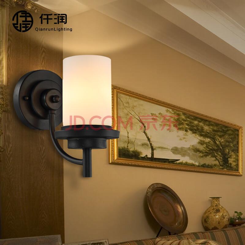 仟润 美式客厅壁灯 创意个性简约复古乡村铁艺玻璃卧室灯餐厅灯书房灯图片
